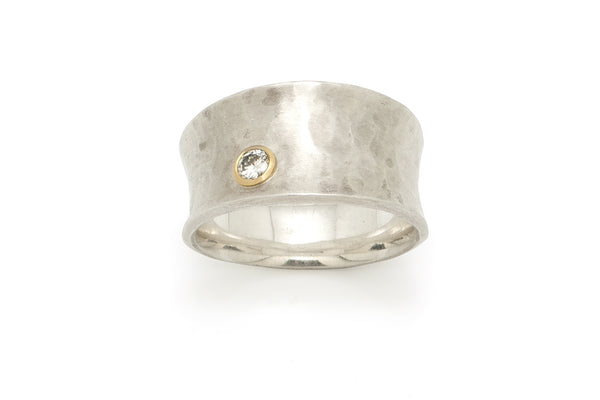 Tony Malmed, contemporary jewelry, sterling silver, 18kt gold, recycled metals, diamond, fine jewelry, concave, ring, band, conflict-free, handmade, hammered finish, santa fe style