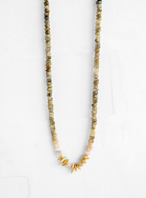 Necklace with Gold Puffed Elements