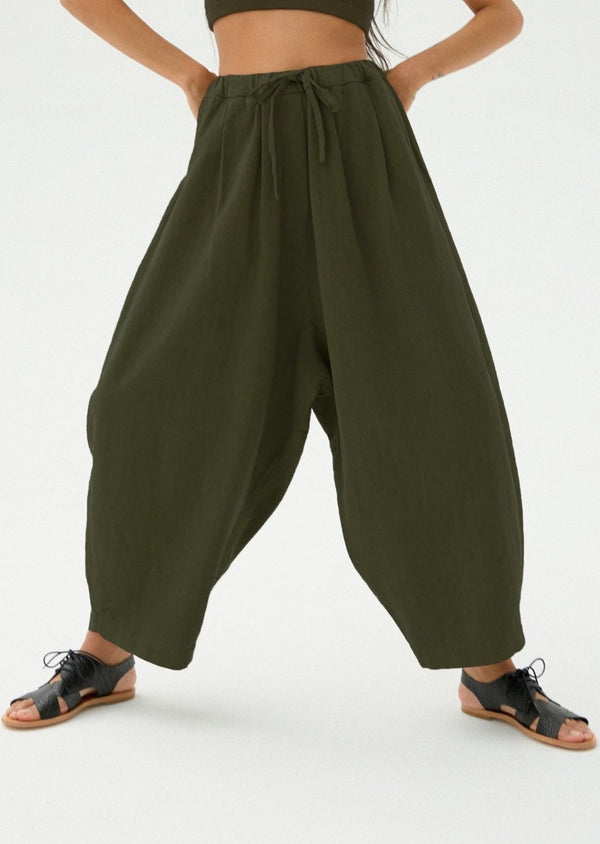 Maxi Ramie Pants, Hunter Green