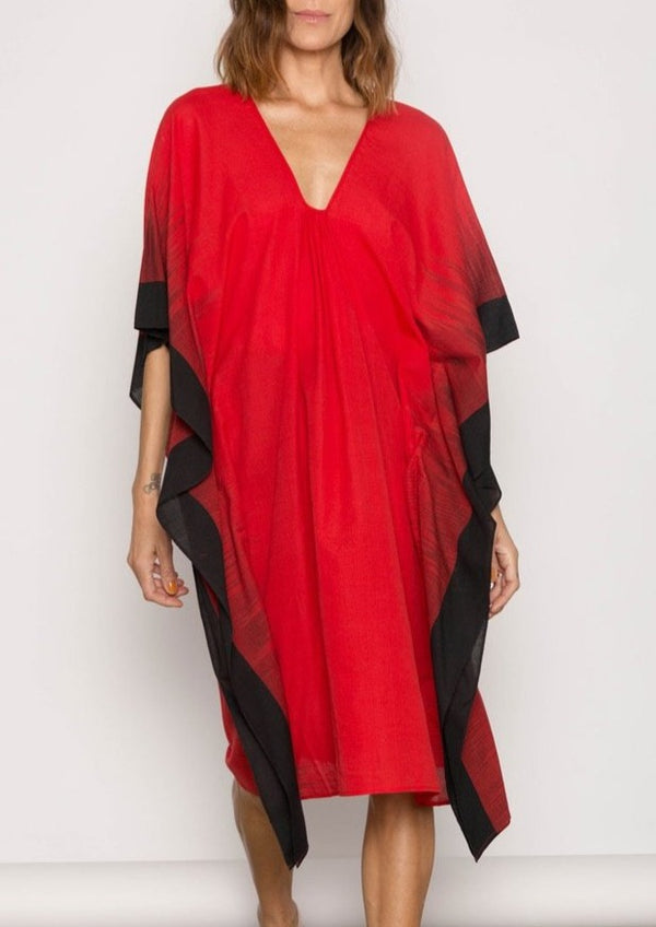 Red Jamdani Caftan