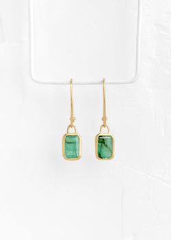 Square Emerald Pendant Earrings
