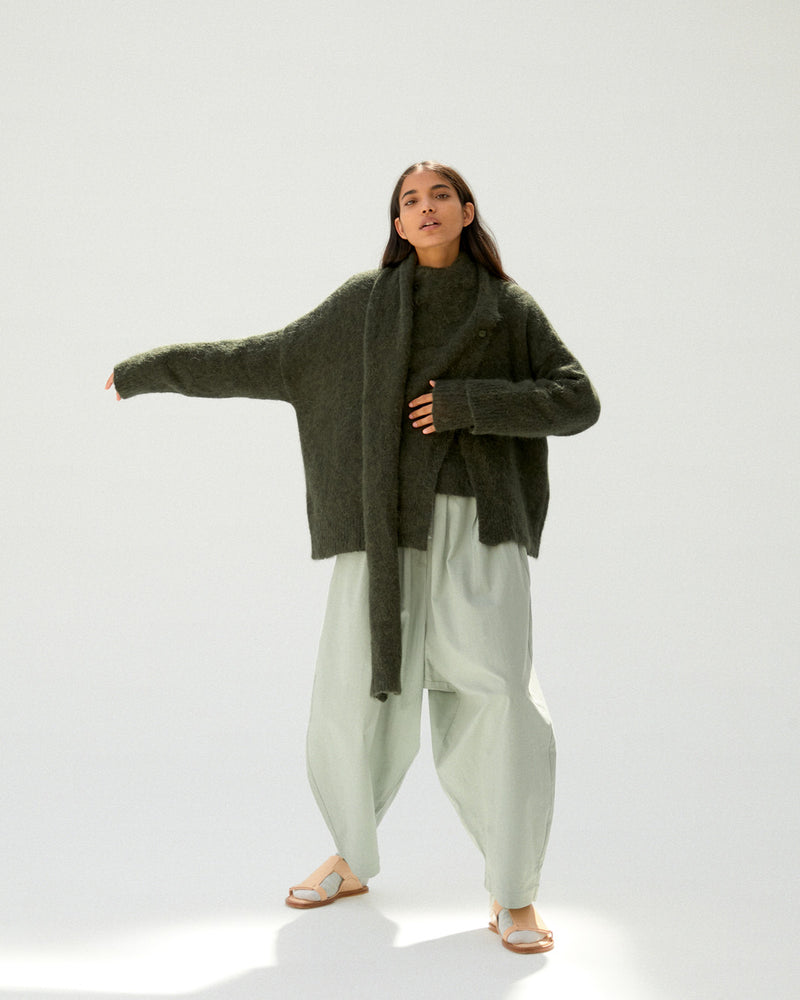 Alpaca Scarf-Neck Cardigan Green