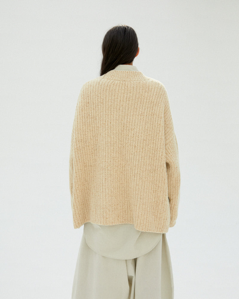 Chunky Soft Wool Cardigan Natural
