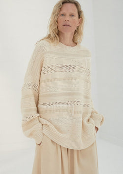 Patched Sweater, Natural