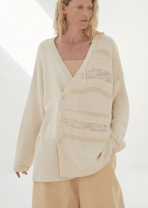 Patched Cardigan, Natural