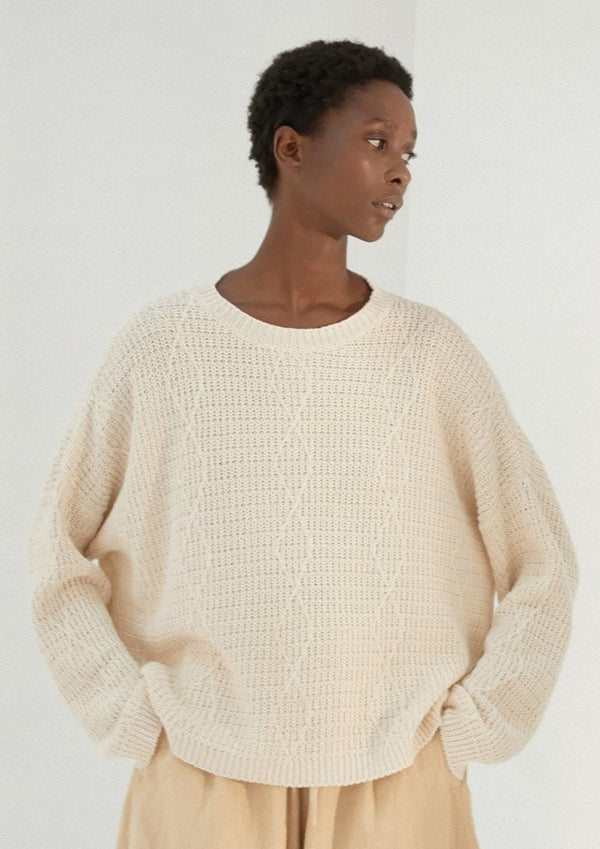 Cable Sweater, Natural