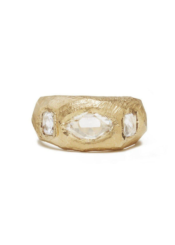 18K Three Diamond Carved Ring