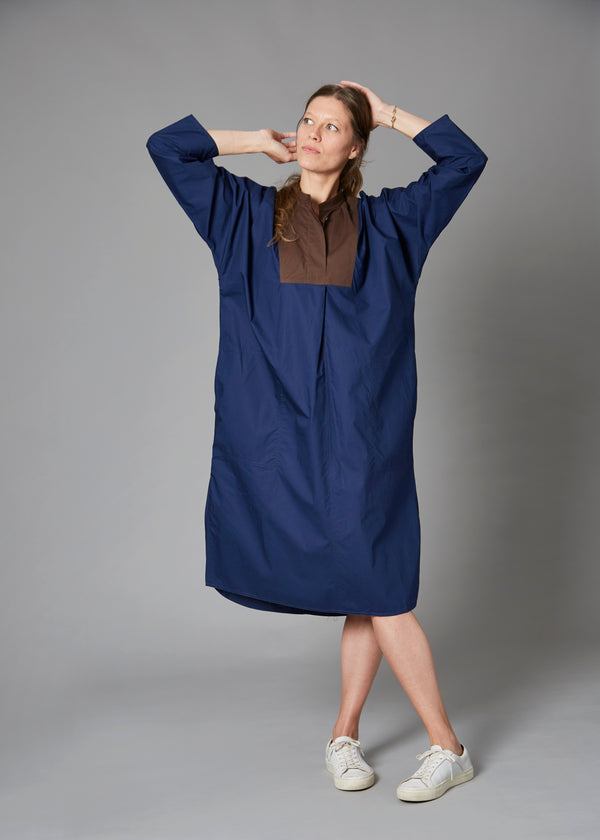 Dimitri Dress, Navy/Chocolate
