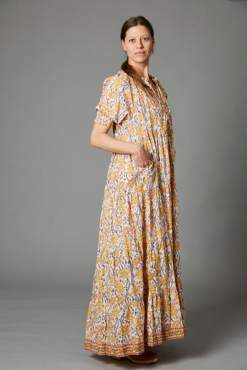 Graziana Long Dress, Orchid Yellow