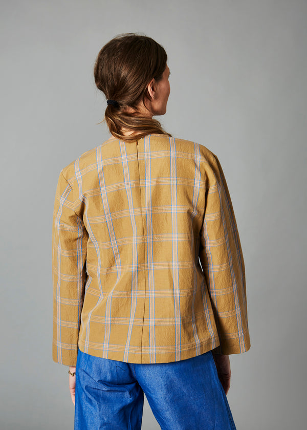 Monica Top, Mustard Window Pane & Denim