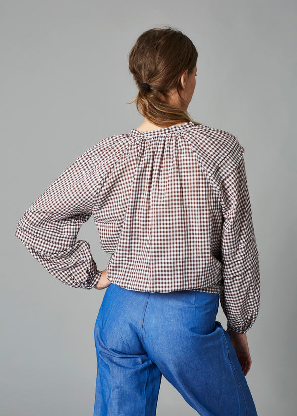Leo Top - Brown Gingham