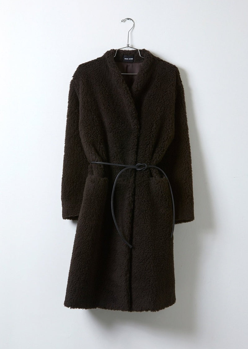 Atelier Delphine Shearling Coat with Leather Belt
