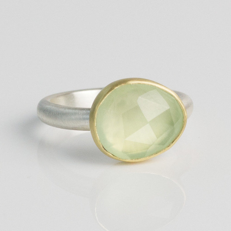 Oval Prehnite Ring