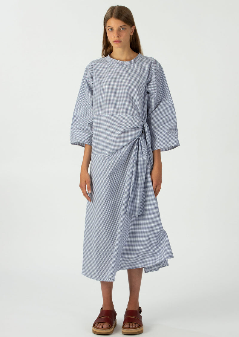 Sofie D'Hoore Blue and White Cotton Poplin Side Tie Dui Dress