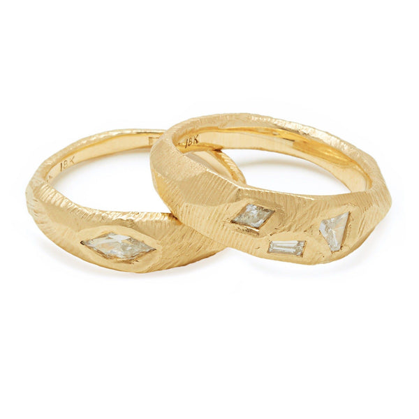 18K Geometric 3 Diamond Ring