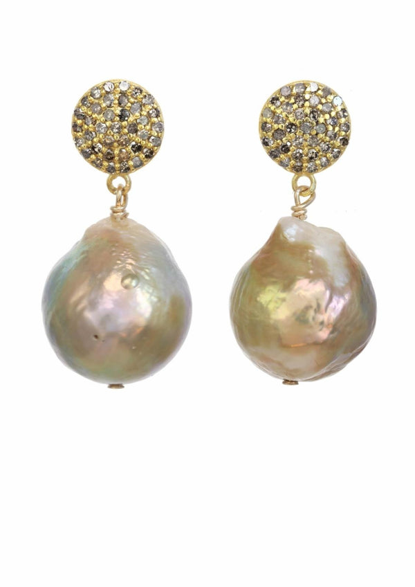 Natural Baroque Pearl Earrings, Champagne Diamonds