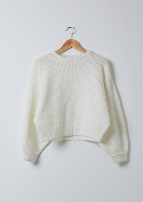 Balloon Sleeve Sweater, Cream
