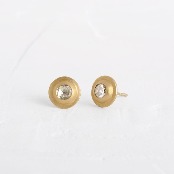 Round Sliced Diamond Earrings