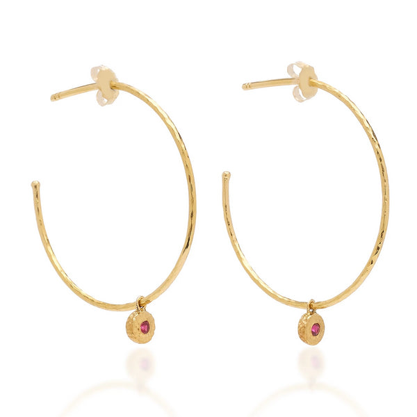 Ruby Nesting Gem Hoops, Small