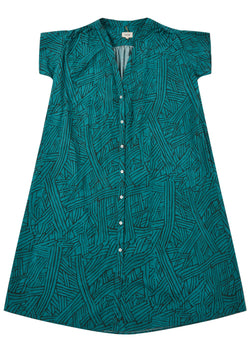Diega Rocha Turquoise Teal Printed Dress Buttoned