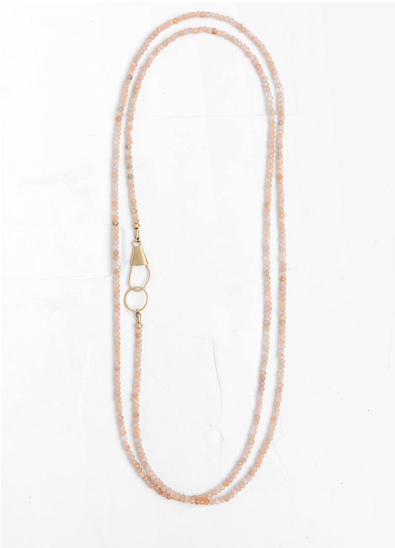 Pink Moonstone Gold Safety Pin Necklace
