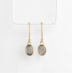 Oval Labradorite Pendant Earrings