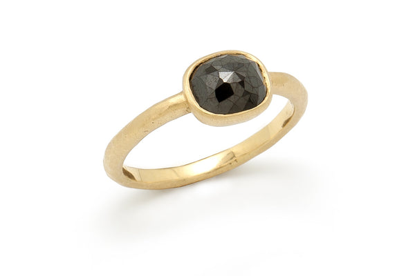Tony Malmed, contemporary jewelry, 18kt gold, recycled metals, rose cut, black diamond, fine jewelry, ring, conflict-free, handmade, hammered finish, santa fe style