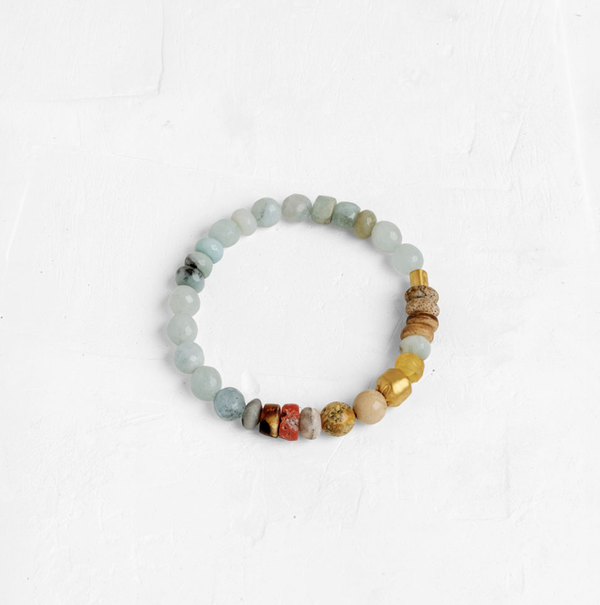 Stone Bracelet with 24k wrapped Stone - Medium