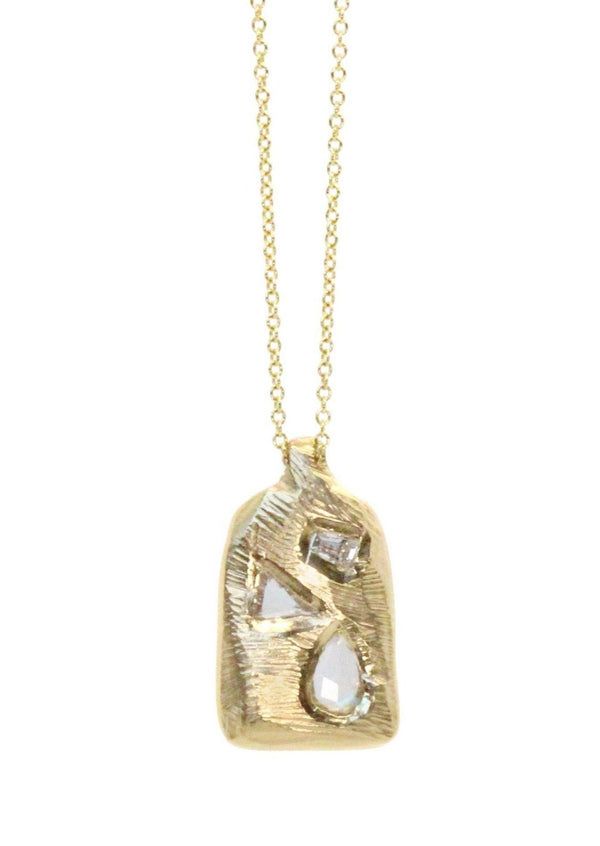 18K Diamond Mosaic Tablet Necklace