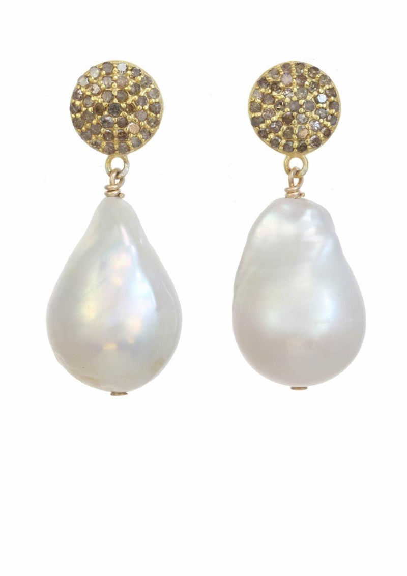 White Baroque Pearl Earrings, Champagne Diamonds