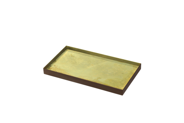 Gold Leaf Mini Glass Tray - Medium