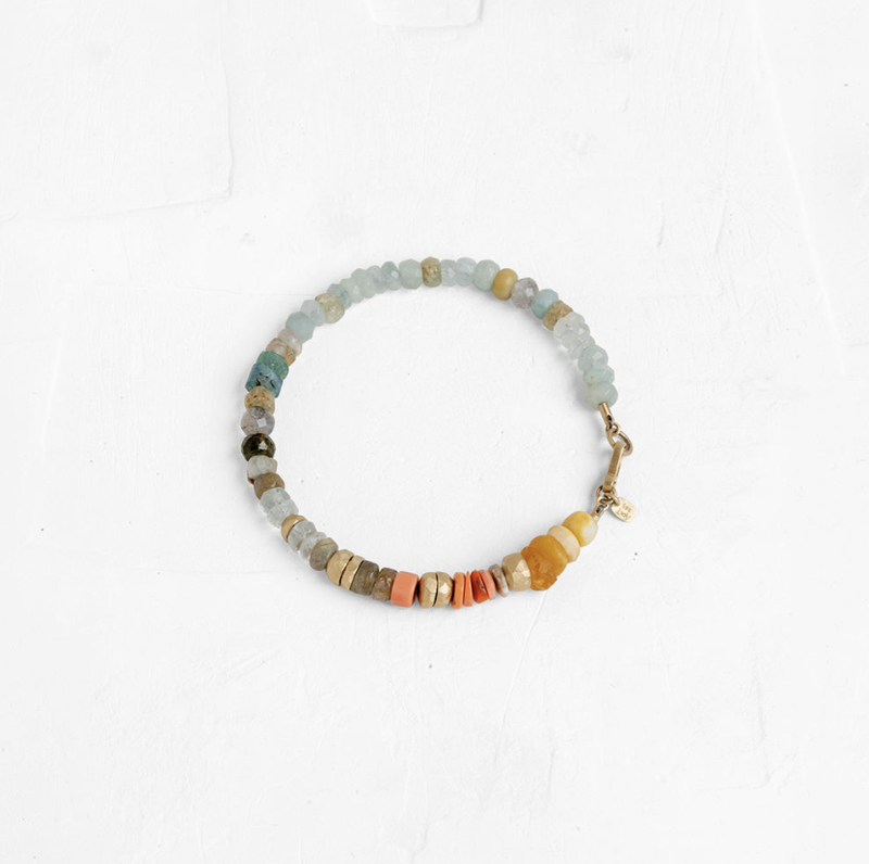 Gemstone Bracelet with Gold Stones - B
