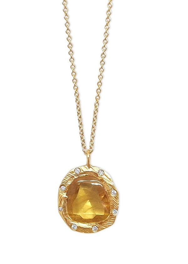 Single Yellow Sapphire Necklace with Diamonds