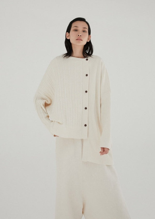 Monica Cordera Assymetrical Cotton Knit Cardigan