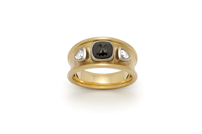 Tony Malmed, contemporary jewelry, 18kt gold, recycled metals, black and white diamonds, fine jewelry, ring, band, conflict-free, handmade, hammered finish, santa fe style