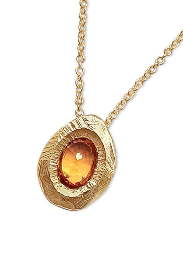 Single Orange Sapphire Pendant