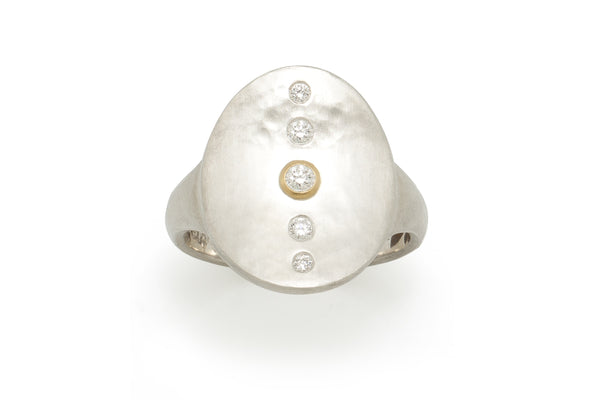 Silver Saddle Ring with Center Row of Diamonds