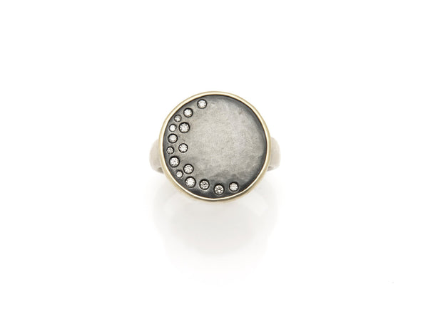 Tony Malmed, contemporary jewelry, oxidized sterling silver, 18kt gold, recycled metals, diamonds, fine jewelry, ring, celestial, moon, conflict-free, handmade, hammered finish, santa fe style