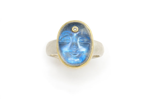 Tony Malmed Carved Moonstone Face Ring with Diamond set in 18K gold and Sterling Silver