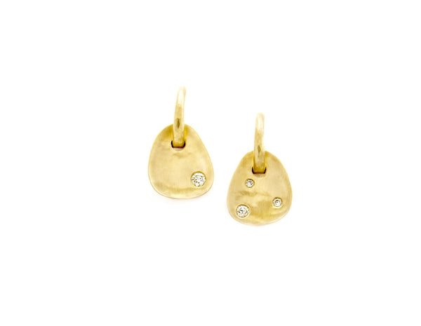 Tony Malmed, contemporary jewelry, 18kt gold, recycled metals, diamonds, fine jewelry, earrings, conflict-free, handmade, hammered finish, santa fe style