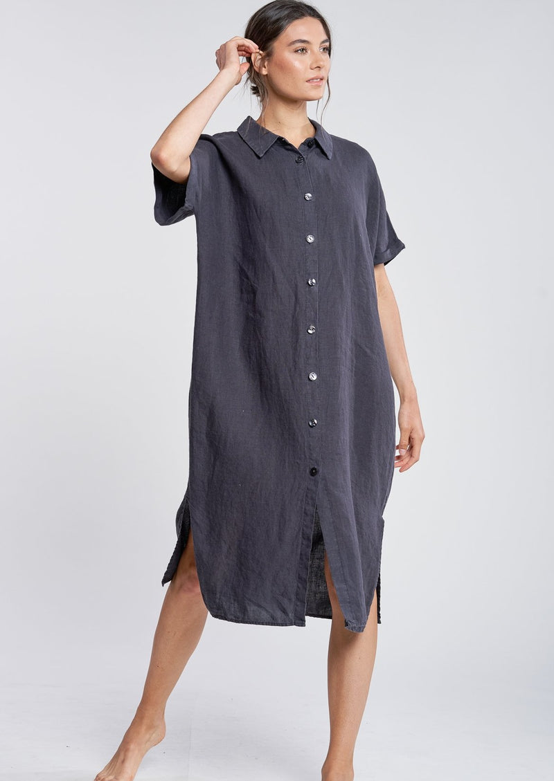 Filosofia Linen Alexa Shirt Dress Ink Hazy Grey