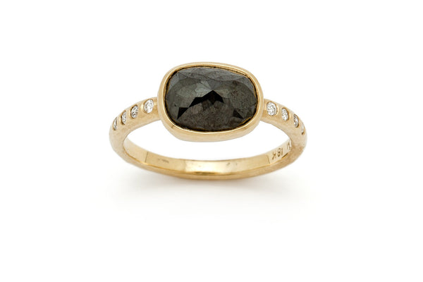 Tony Malmed, contemporary jewelry, 18kt gold, recycled metals, rose cut black and white diamonds, fine jewelry, ring, conflict-free, handmade, hammered finish, santa fe style