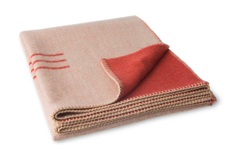 Harvest Moon Reversible Throw -Terracotta, Ivory