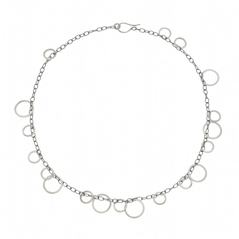 Gold Circle Bunches Necklace, 17""
