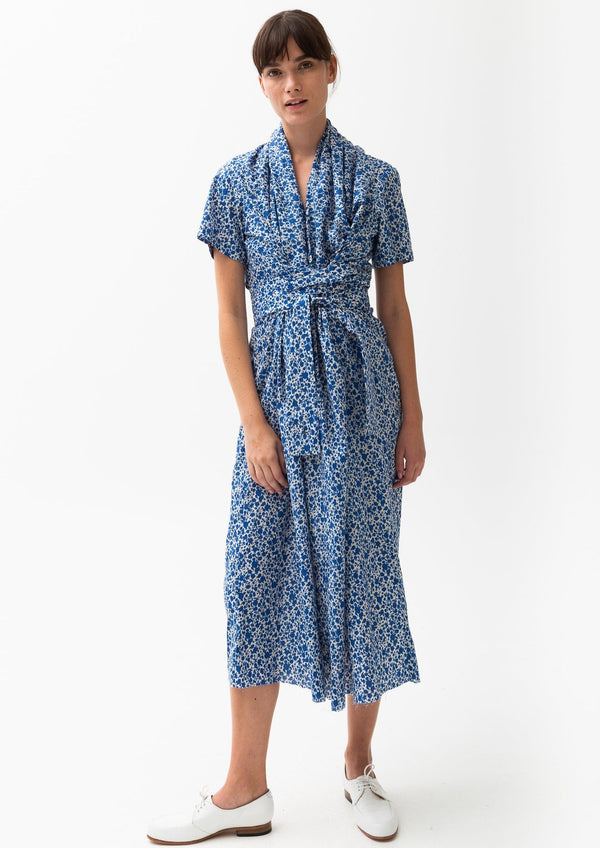 Caron Callahan Jocelyn Dress Blue Floral Print Shawl Collar Kimono