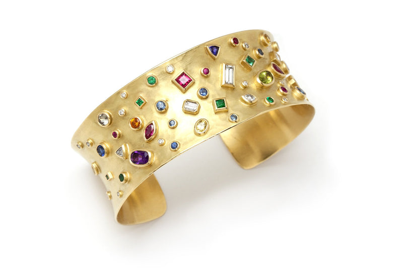 Tony Malmed, contemporary jewelry, 18kt gold, recycled metals, diamonds, peridot, ruby, sapphire, emerald, tanzanite, amethyst, fine jewelry, cuff bracelet, conflict-free, handmade, hammered finish, santa fe style