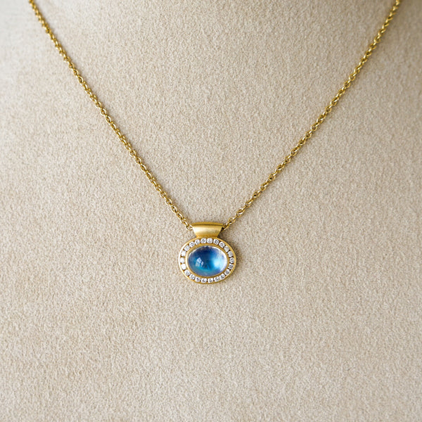 Gem Grade Blue Moonstone Pendant with 18k Gold and Diamond Halo