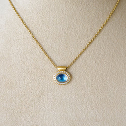Horizontal Blue Moonstone with Diamonds Necklace