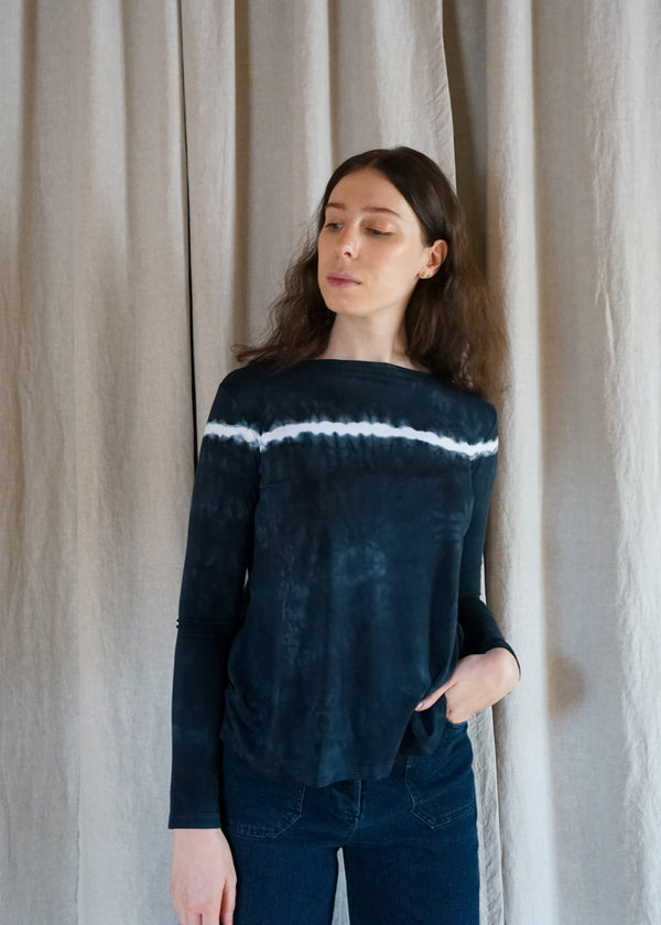 Annie Turbin Indigo Black and White Natural Dye boat neck tee shirt long sleeved