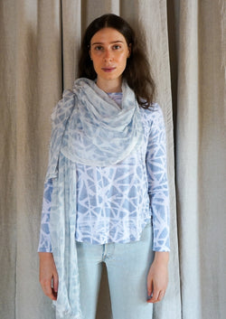 Annie Turbin Tie Dye Hand Dyed Natural Dye Long Sleeve Relaxed Boat Neck Tee Shirt Organic Cotton
